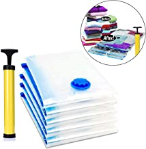 RYLAN Vacuum Storage Reusable Ziplock Smart Space Saver Bags (Pack of 5) 2 Small (50 cm x 70 cm), 2 Medium (60 cm x 80 cm), 1 Large (70 cm x 100 cm) with Hand Pump for Travel