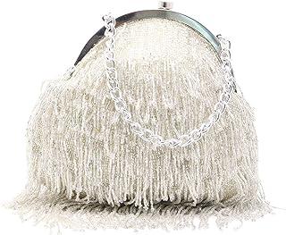 Odette Women's Vintage Beaded Tassel Clutch (Silver)