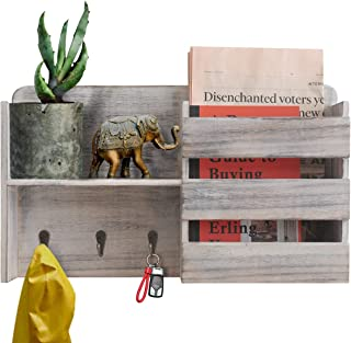 Honest Torched Wood Rustic Wall Mounted Key & Mail Holder,Organizer with 3 Key Hooks Shelf for Entryway or Mud Room Holds Documents, Bills, Letters, Keys(Whitewash)