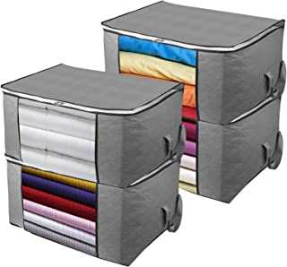 Awekris Foldable Storage Bag, Set of 3 Large Foldable Clothes Organizer, Clear Window & Carry Handles, Great for Clothes, ...