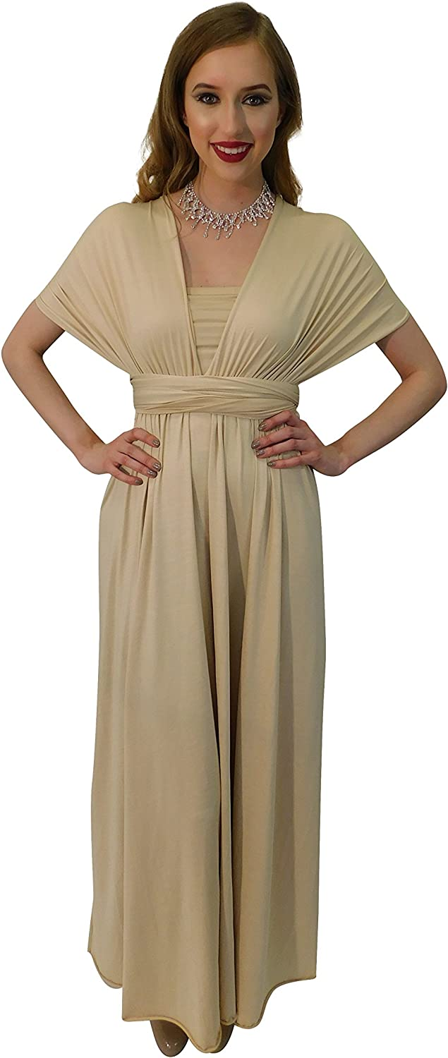 4Now Fashions Infinity Dress Long Bridesmaid Dress Prom Formal Congreenible Multiway (Champagne)