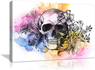 Canvas Wall Art Day of The Dead Painting with Sugar Skull and Roses Petal Wall Art Feature Background Modern Picture Home Decor Stretched and Framed Ready to Hang