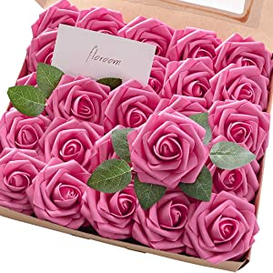 Floroom Artificial Flowers 50pcs Real Looking Hot Pink Fake Roses with Stems for DIY Wedding Bouquets Bridal Shower Centerpieces Floral Arrangements Party Tables Home Decorations
