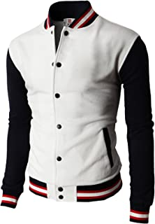 H2H Mens Casual Slim Fit Varsity Baseball Jackets Bomber Cotton Lightweight Coats