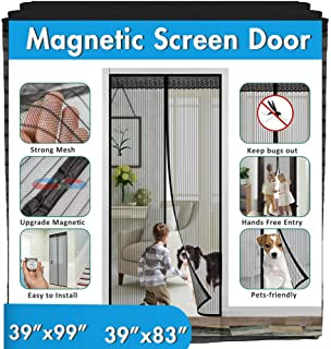 "Magnetic Screen Door, IKSTAR Upgrade Mesh Door Instant Closure with Full Frame Hook&Loop, Keep Fly/Bugs Out, Pet/Kids Walk Through Freely Fit Door Up to 36""x82"" 36""x98"""""