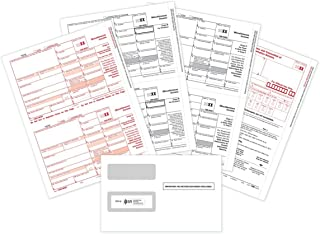 CheckSimple 2019 1099-MISC Tax Forms Bundle (3-Part Set) with 1099 Envelopes - 10 Pack for Laser Printers