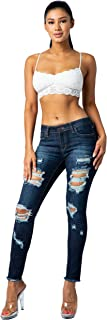 Aphrodite Mid Rise Jeans for Women - Skinny Ankle Unhemmed Frayed Womens Distressed Ripped with 5 Pockets 4535 (Made in USA) Dark Blue 1