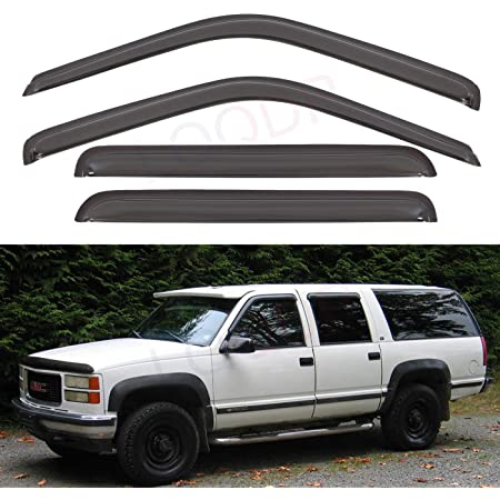 D/&O MOTOR 4pcs Front+Rear Smoke Sun//Rain Guard Window Visor for 2015-2020 GMC Canyon /& Fit Chevrolet Colorado Crew Cab Pickup