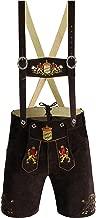 German Bavarian Lederhosen Authentic Shorts Lederhosen Oktoberfest Lion Emb. Trachten Men's Wears Short Color Dark Brown