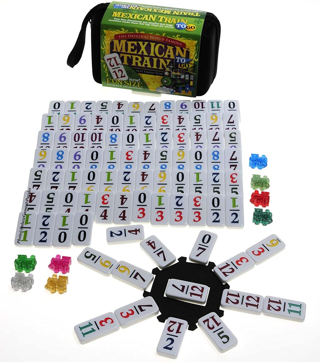 Mexican Train Double 12 Dominoes _ Travel Größe _with ColGoldt Numbers