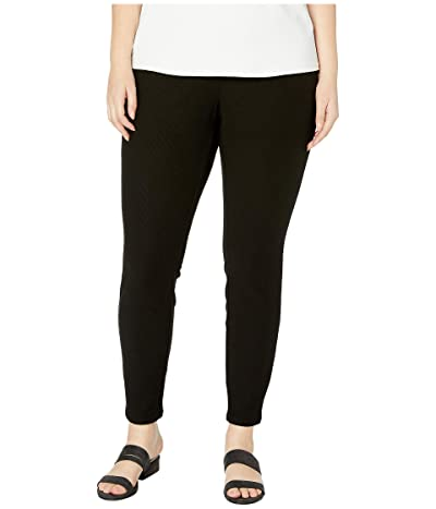 Eileen Fisher Plus Size Tencel Stretch Ridge Leggings (Black) Women