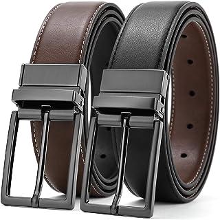 Leather Belt Men Reversible Men's Belts Genuine Leather Adjustable Belts For Men With Reversible Buckles Men's Dress Belt ...