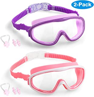 COOLOO Kids Swim Goggles, 2-Pack Wide Vision Swimming Glasses for Children and Early Teens from 4 to 15 Years Old, Wide Vision, Anti-Fog, Waterproof, UV Protection