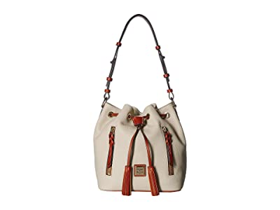 Dooney & Bourke Pebble Cooper Drawstring (Bone/Tan Trim) Drawstring Handbags