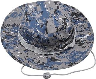OULII Sombrero de Pescador Camuflaje de ala Ancha Protección del Sol para Viaje Deporte para Hobres Mujeres (Camuflaje Azul)