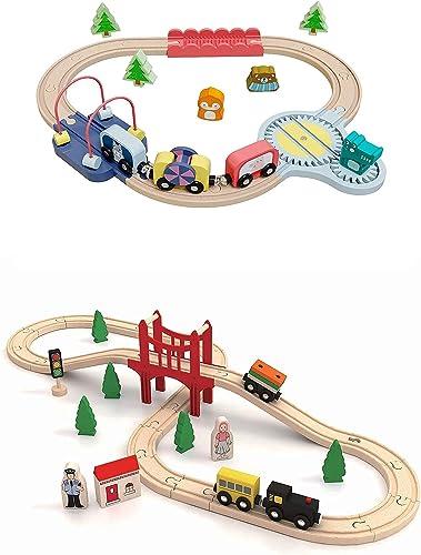 wholesale Tiny outlet sale Land Wooden-Train-Set 22Pcs+39Pcs Compatible with popular Brio Thomas Melissa and Doug Wooden Train Set sale