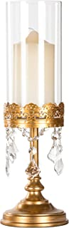 Amalfi Décor Sophia Antique Gold Metal Candle Holder with Glass Hurricane Vase, Crystal Draped Pillar Stand Home Accent Display
