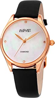 August Steiner Women's Quartz Watch, Analog Display and Leather Strap As8254Bk