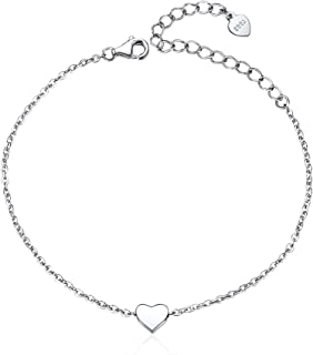 ChicSilver Personalized 925 Sterling Silver Minimalist Heart/Star/Moon/Dot Anklet Bracelet, Custom Couple/Lover Name Engravable Jewelry for Women Girls(with Gift Box)