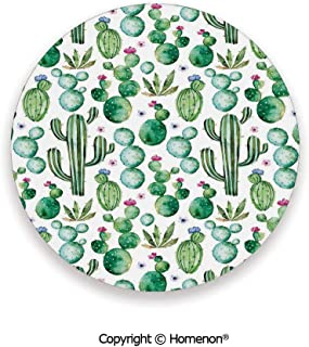 Mexican Texas Cactus Plants Spikes Cartoon Like Art Print,Ceramic Stone With Cork Back White Light Pink and Lime Green,3.9×0.2inches(8PCS),Protect Furniture From Coffee Or Tea