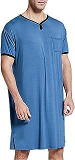 Grace&Nora Camisa de dormir larga para hombre, cuello sólido, bolsillos en el pecho, transpirable