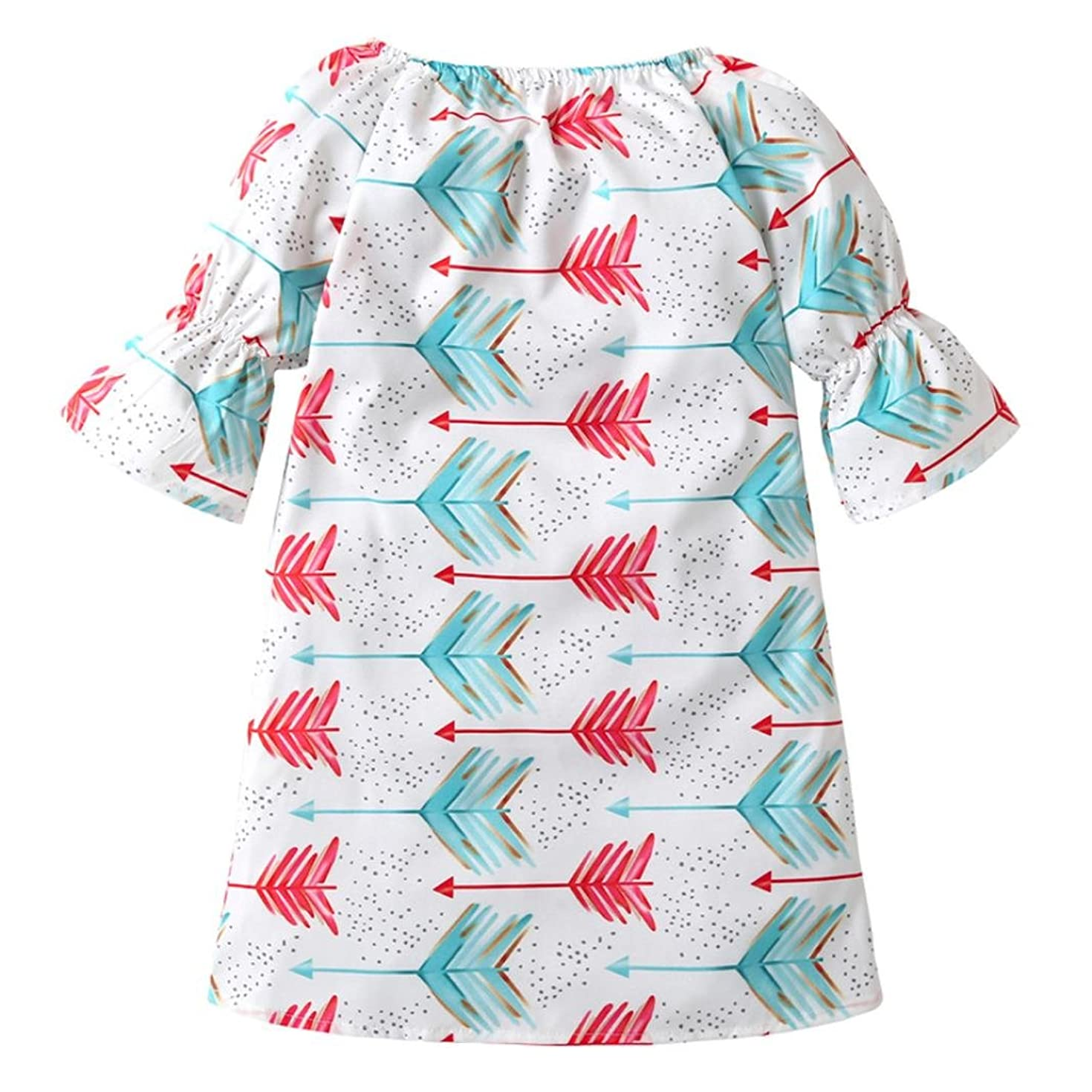 Boomboom Baby Girls Summer Dress, Newborn Baby Girl Arrow Print A-Line Princess Sleeveless Dress