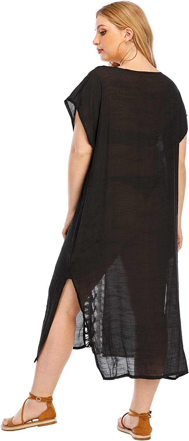 KAICAILA Swimsuit Cover Up Dress for Women Yarn Plus Size Sexy Beach Swimming Pool Half-Transparent Loose Pullover