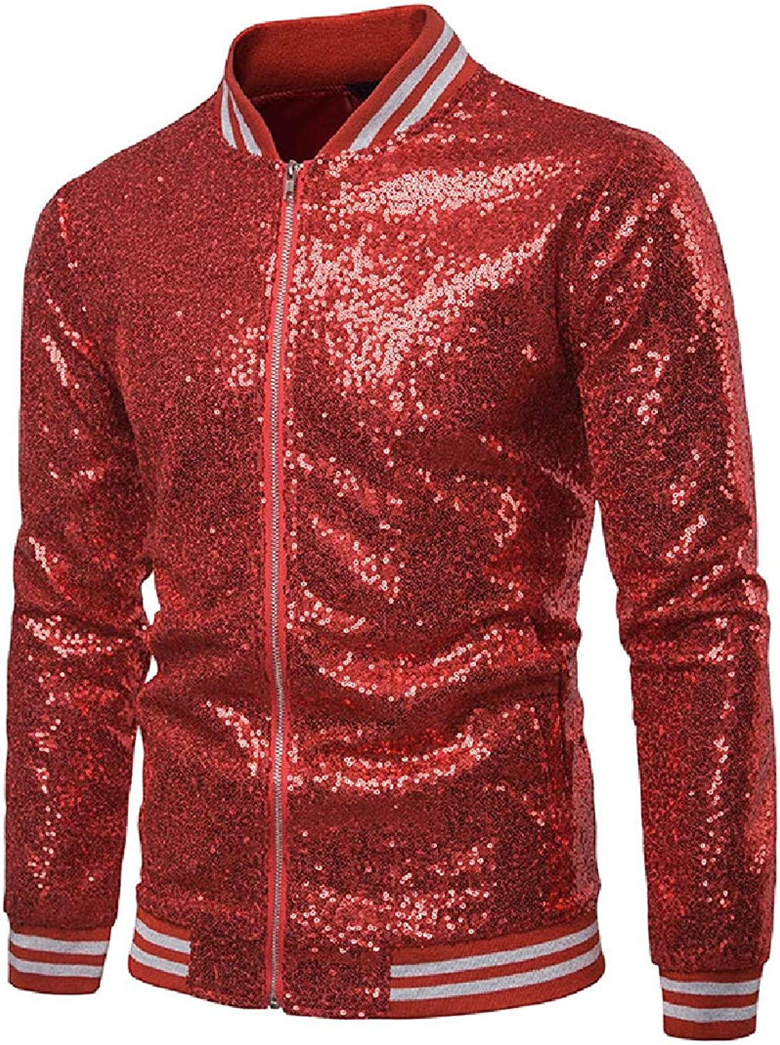414addbc0 Doufine Doufine Doufine Men Windbreakers Sequin Shiny with Zip Relaxed  Jacket Coat bf248a