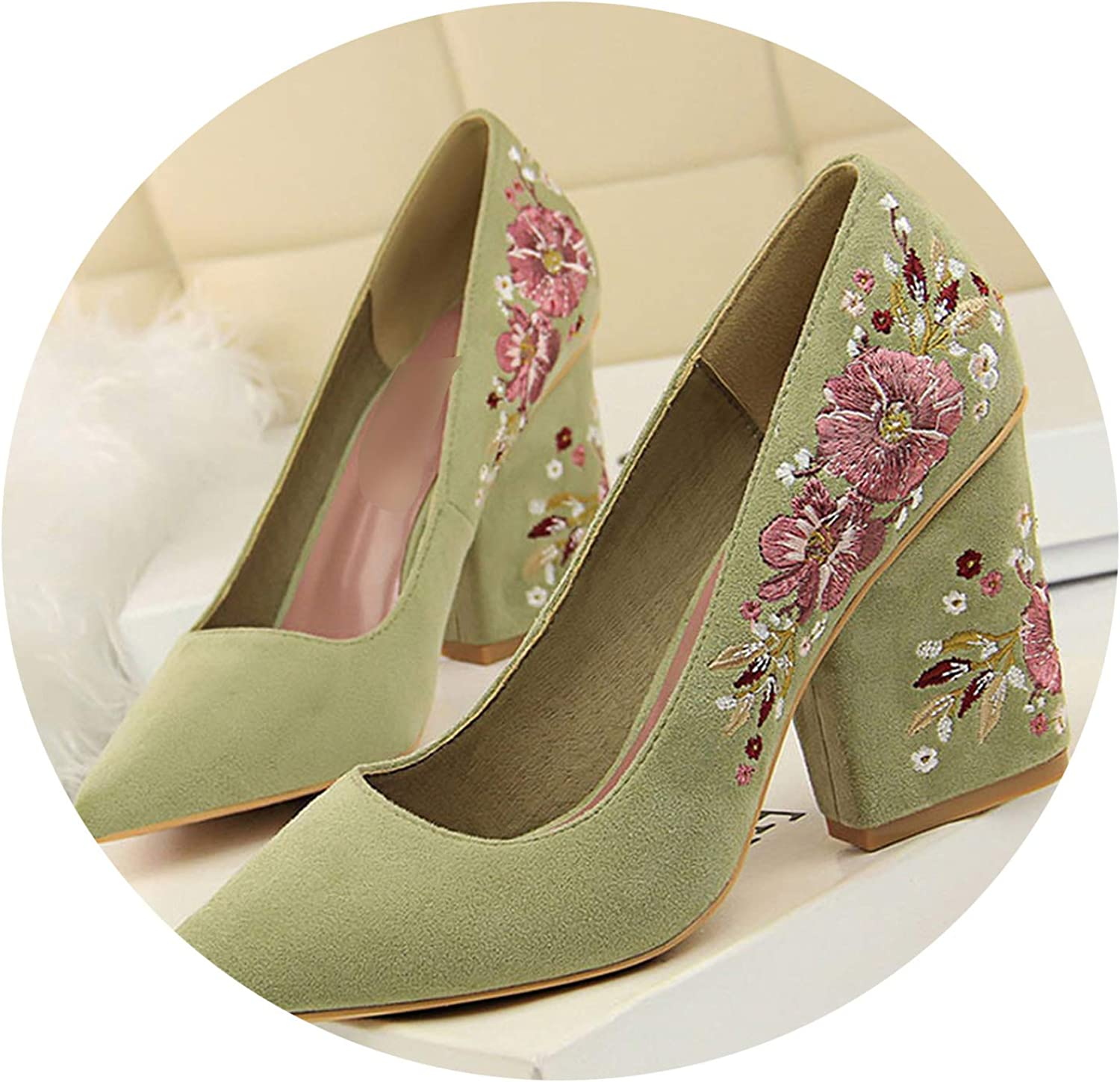 2019 New Spring Women Pumps High Square Heel Pointed Toe Embroider Sexy Ladies Female Pumps
