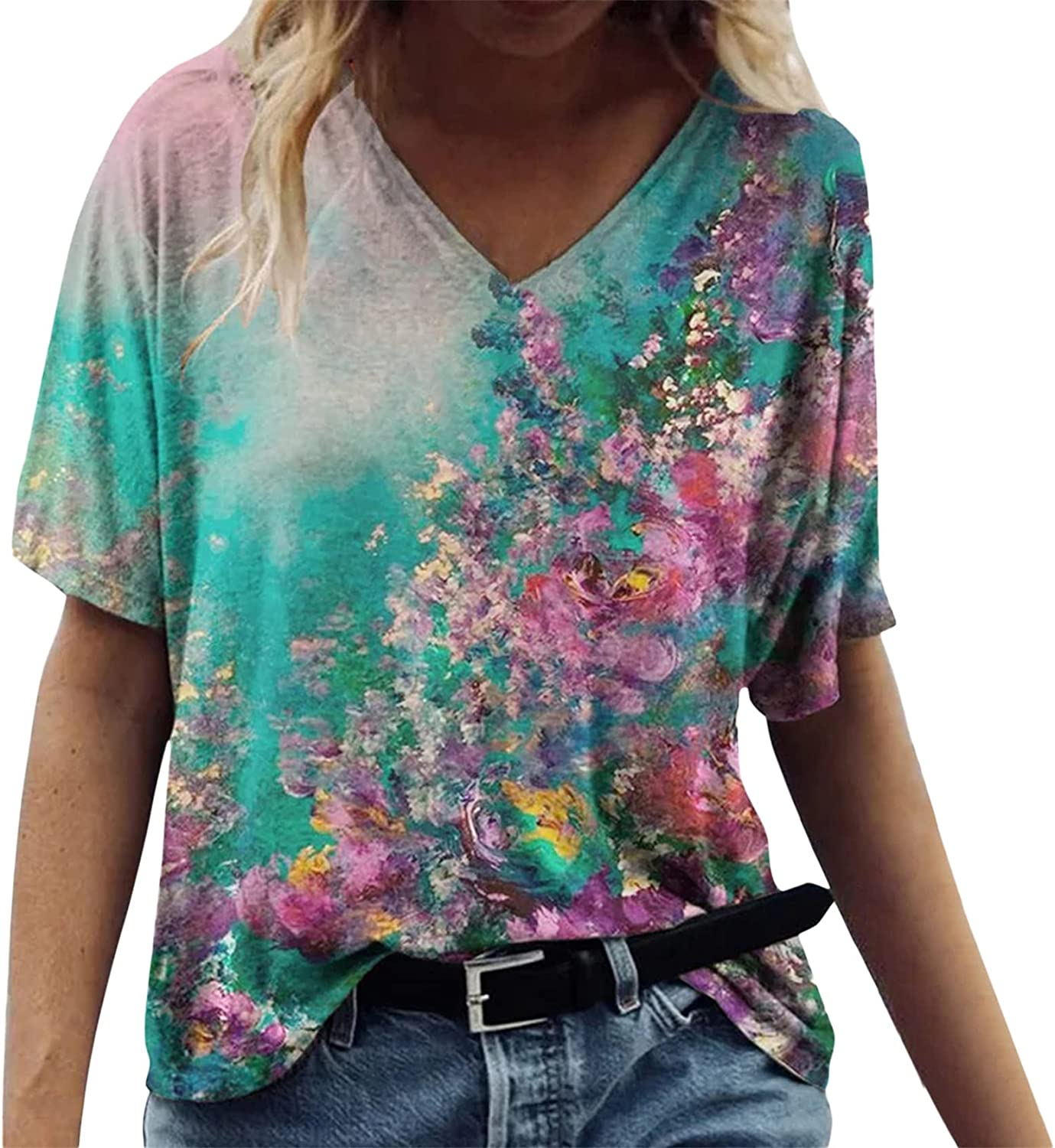 Andongnywell Women's Printed Short Sleeve Loose Casual V-Neck Floral Print T-Shirt Tops Tunic Blouses