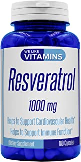 Resveratrol Capsules 1000mg Serving (Non GMO & Gluten Free) - 180 Capsules - Full 3 Month Supply - Antioxidant Trans Resveratrol Supplement Helps Support Anit-Aging and Cardiovascular System