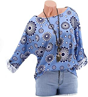 GAOXINGQU Women's Long Sleeve Printed Round Neck T-shirt (Color : Blue, Size : 4XL)