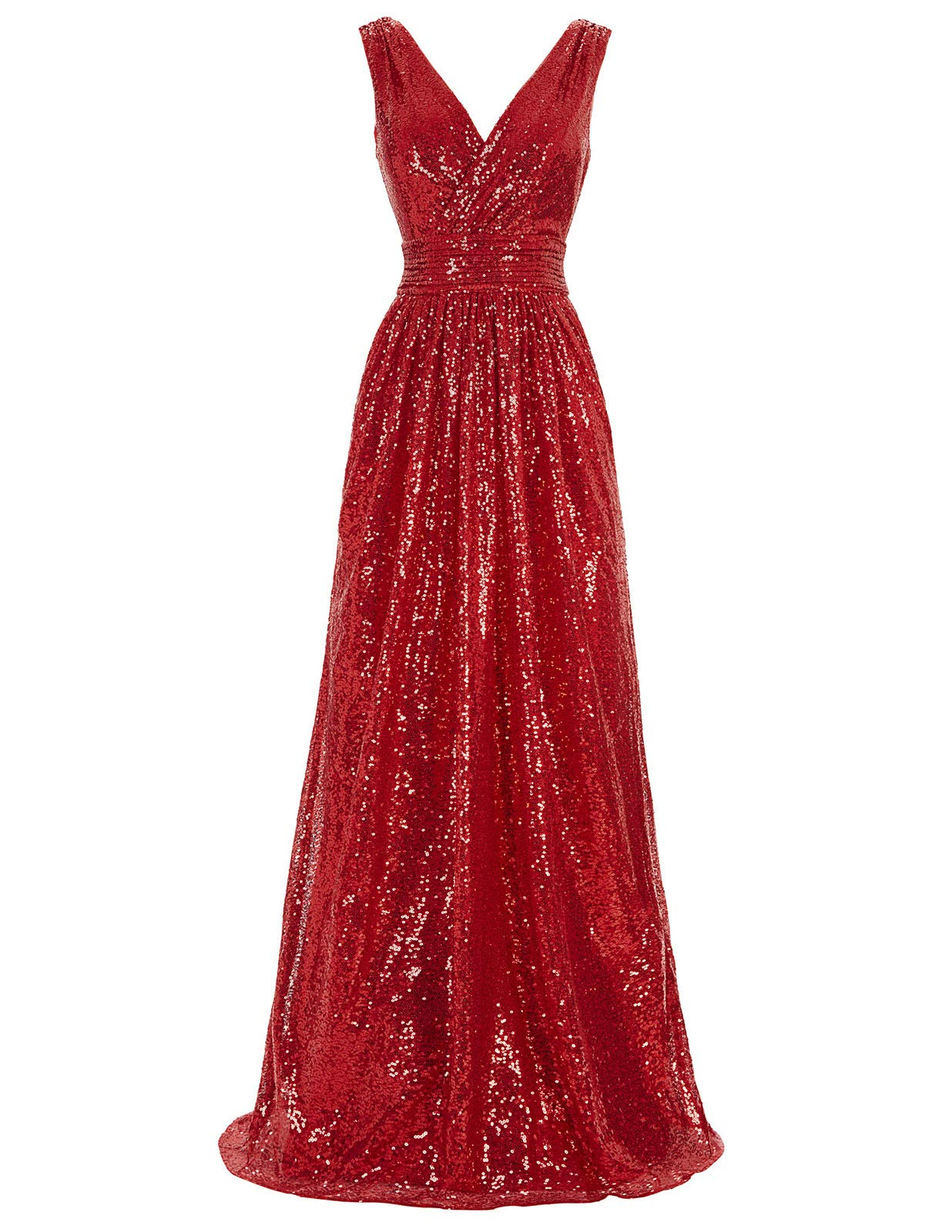 Red Dress - Women's Formal Floral Lace Evening Party Maxi Dress