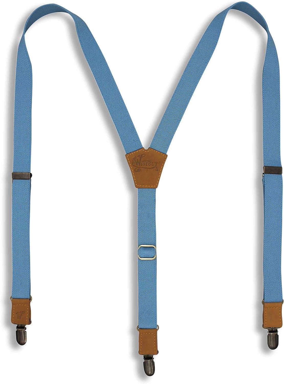 Suspenders Sky Blue Elastic Slim 1 inch | Wiseguy Original