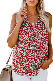 Women's Floral Print V Neck Tank Tops Loose Casual Sleeveless Shirts Blouses