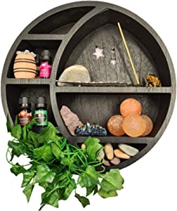 Crescent Moon Shelf l Witchy Wall Decor Shelf Display. Great Aesthetic for displaying Crystals and Essential Oils in Any Bedroom. Easily Mounted Crystal Display Shelf. (Black)