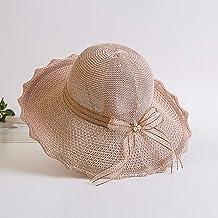 XHCP Ladies Sun Hat Wide Brim Chic Straw Hat Portable Foldable Soft Breathable Summer Outdoors Anti-UV Fashion Ribbon Beach Hat Women Adjustable