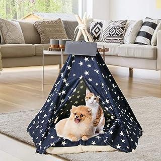 Enjoyyouselves Husdjur tält hus, lyx bärbar hundsäng kattsäng hundvalp tipi tält med kudde för små medelstora husdjur