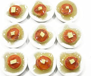 9 Pancakes with syrup Dessert on Ceramic Plate Dolls House Miniature Food - 4442