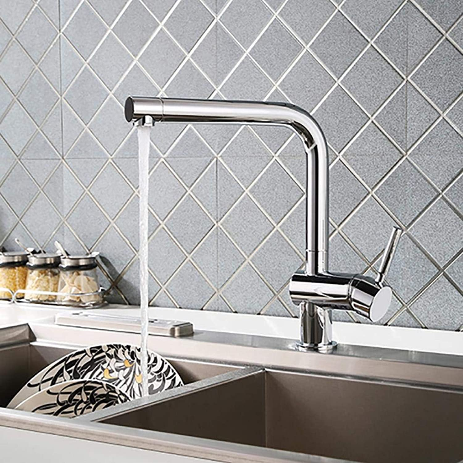 BKPH Single Handle Faucets High Arc Swivel Spout Kitchen Sink Solid Brass Hot and Cold Mixer Taps