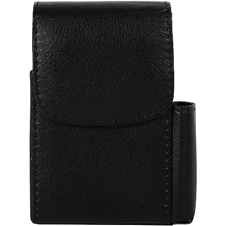 PU Leather Cigarette Case with Lighter Holder Cigarette Case Wallet for Men and Women Unisex black