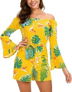6f46b9e98b KorMei Womens Off Shoulder Long Sleeve Floral Tie Waist Short Romper  Jumpsuit Dress