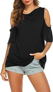 38c1606e5dc26 BURLADY Women s Summer Cold Shoulder Ruffle Sleeve Loose Stretch Tops Tunic  Blouse Shirt