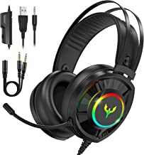Blade Hawks Gaming Headset for PS4 Xbox One, Wired PC Gaming Headphones RGB with Noise Canceling Mic 7.1 Surround Sound Ai...