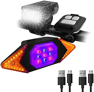 Bike Lights Front and Back Rechargeable, MakeTheOne Super Bright Bicycle Headlight and Tail Light Set Turn Signals, Easy t...