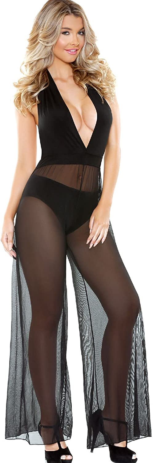 Tease Women's Black Halter Style Jumpsuit with Sheer Wide Legs