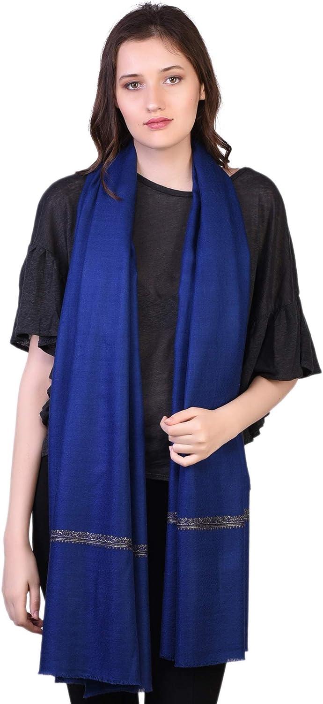 100% Handspun Cashmere Hand Embroidery Scarf Winter Womens Dark bluee