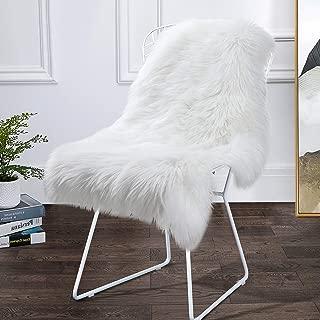 Softlife Fluffy Faux Sheepskin Fur Rug 2' x 3' Shaggy Area Rugs for Girls Room Bedroom Living Room Chair Sofa Decor Carpet, White