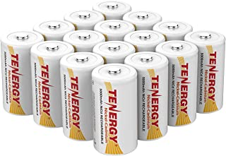 Tenergy D Size 5000mAh NiCd Button Top Rechargeable Batteries - 16 Pack