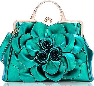 Luxurious Rose Flower Ladies Handbag Fashion Casual PU Leather Large Capacity Shoulder Bag (Color : Green)